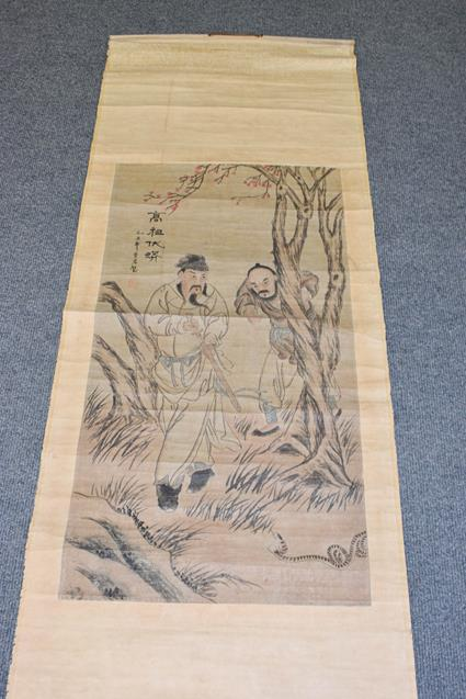 Six 20th century Chinese watercolour scrolls, five decorated with figures in landscapes and one - Image 11 of 18