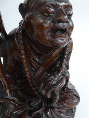 Five late 19th/early 20th century Chinese hardwood carvings, a fisherman, a nomad, water buffalo and - Image 4 of 22