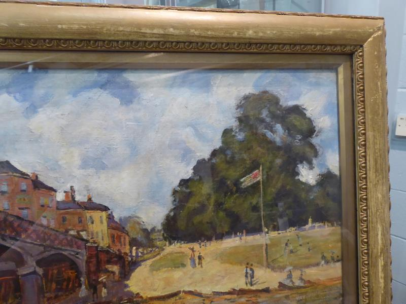 After Alfred Sisley, Hampton Court Bridge, Bears signiture S Lepine (18)74, oil on board, 31cm by - Image 6 of 9