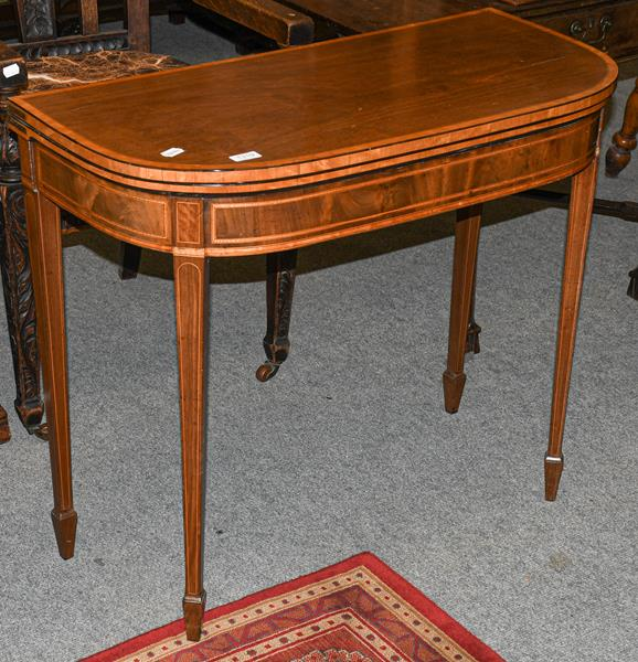 A 19th century satinwood cross banded mahogany foldover card table, 87cm by 43cm by 74cm