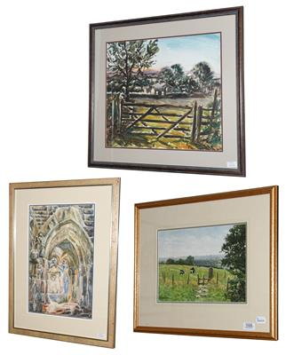 A J Makinson (Contemporary) Landscape with cattle Signed, watercolour, together with another