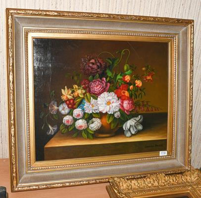 Laurence Backer (Contemporary) Still life flowers in a vase on a ledge, signed oil on canvas, 50cm