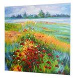 Contemporary School Poppy fields Oil on canvas, 95.5cm by 95.5cm