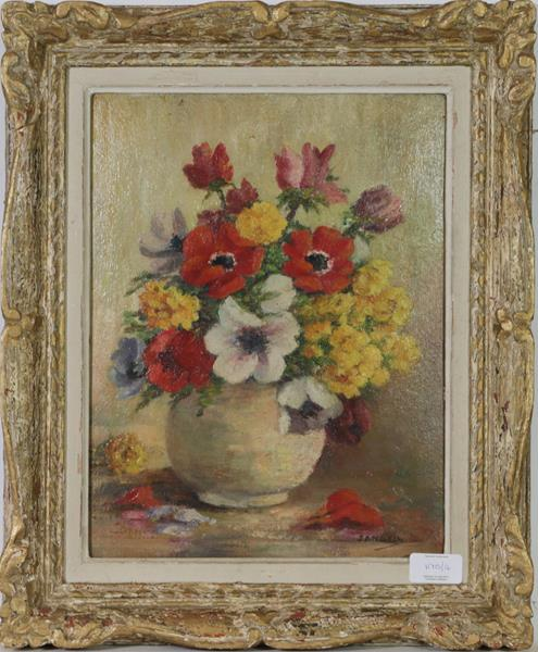 M E Oddie (20th century) Still life flowers in a bowl, together with a indistinctly signed still