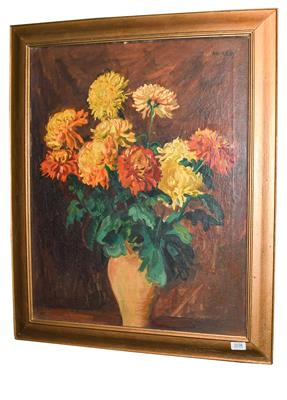 Philip Naviasky (1894-1983) Still life of orange and yellow flowers in a terracotta vase Signed, oil