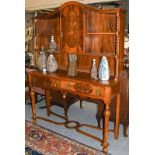 A marquetry inlaid walnut sideboard cabinet, 153cm by 51cm by 212cm