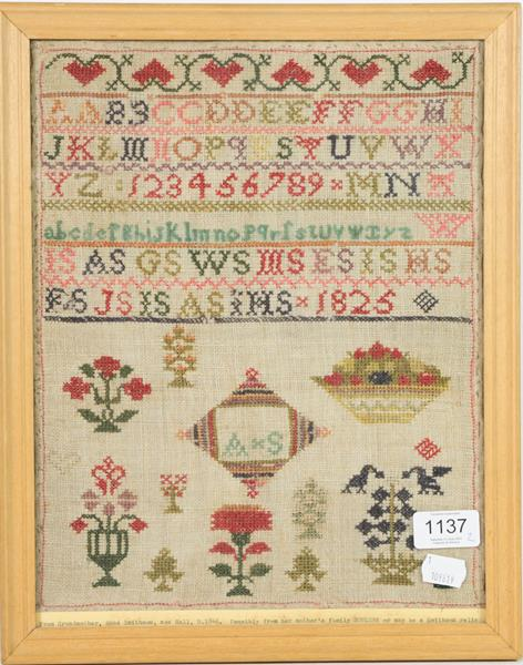 Two 19th century woolwork samplers, same family worked by Anne Soulsby 1825, and Anne Smithson - Image 2 of 2