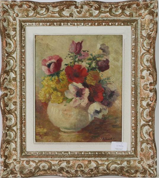 M E Oddie (20th century) Still life flowers in a bowl, together with a indistinctly signed still - Image 2 of 4