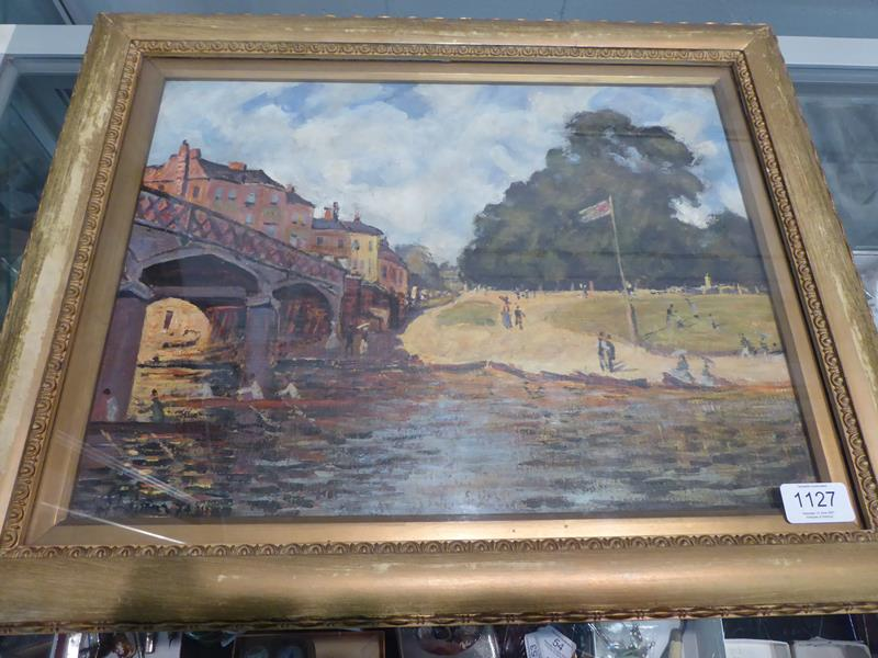 After Alfred Sisley, Hampton Court Bridge, Bears signiture S Lepine (18)74, oil on board, 31cm by - Image 2 of 9