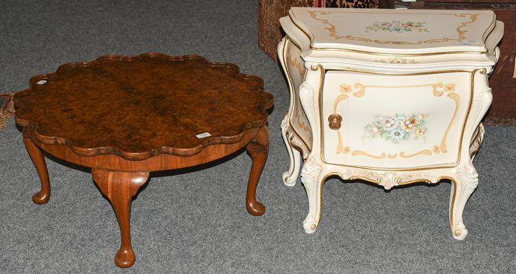 A small painted chest and a walnut coffee table (2)