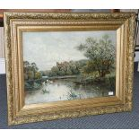George West (19th/20th century) Fishing in a lake before Windsor Castle, Signed and dated 1889,