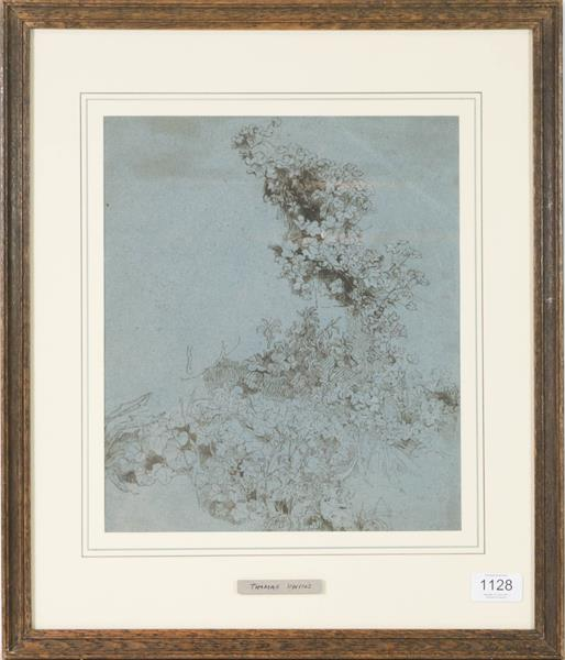 Thomas Uwins RA RWS (1782-1857) Study of ivy, Pen and ink, 30.5cm by 26cm