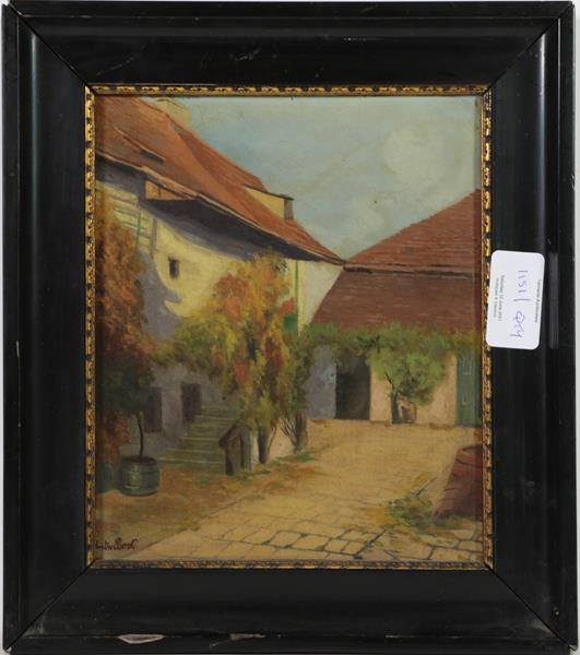 Seven small oils of a Tyrolean pipe smoker, cottage garden by Allen, two views by F Bock, man with - Image 6 of 8
