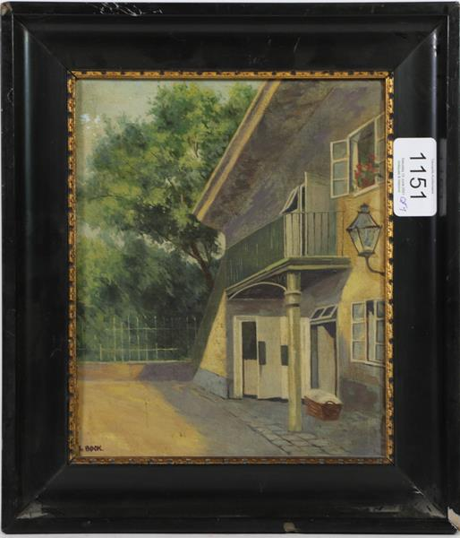 Seven small oils of a Tyrolean pipe smoker, cottage garden by Allen, two views by F Bock, man with - Image 7 of 8