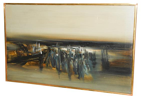 Kit Barker (1916-1988) ''Waldensee Polder'' Signed, inscribed verso, oil on canvas, 56cm by 91cm