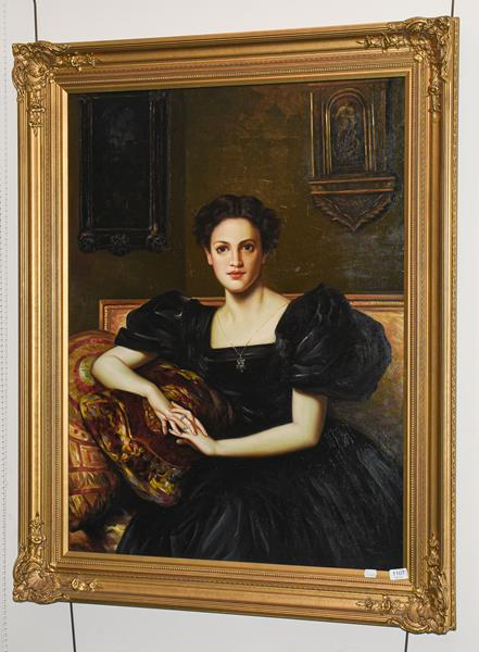 R Teniers (Contemporary) Portrait of a lady in the Edwardian style, signed oil on canvas, 100cm by