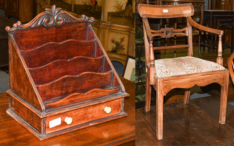 A Regency mahogany chair and a letter rack (2)