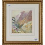 George Whyatt, Highland Loch, signed watercolour, 19cm by 17cm