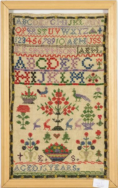 Two 19th century woolwork samplers, same family worked by Anne Soulsby 1825, and Anne Smithson