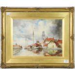 L.Van Staaten, Goorinhein on the Maas, signed watercolour, 29cm by 40cm