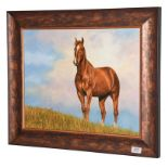 David Stribbling (Contemporary) Chestnut horse in a landscape Signed, oil on canvas, 40cm by 49.