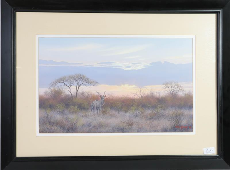 Wim Kosch (Contemporary) South African, Kudu, Signed and dated (19)96, oil on board, 31cm by 51cm