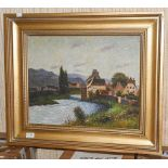 Continental School (Contemporary) Country mill, oil on canvas, 39.5cm by 50cm