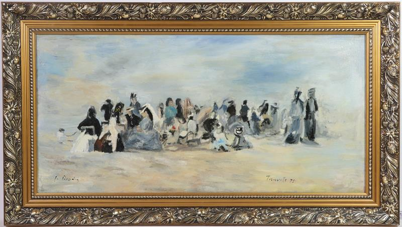 After Boudin (21st century) Tronville beach Signed E Boudin, oil on canvas, 30cm by 62cm together