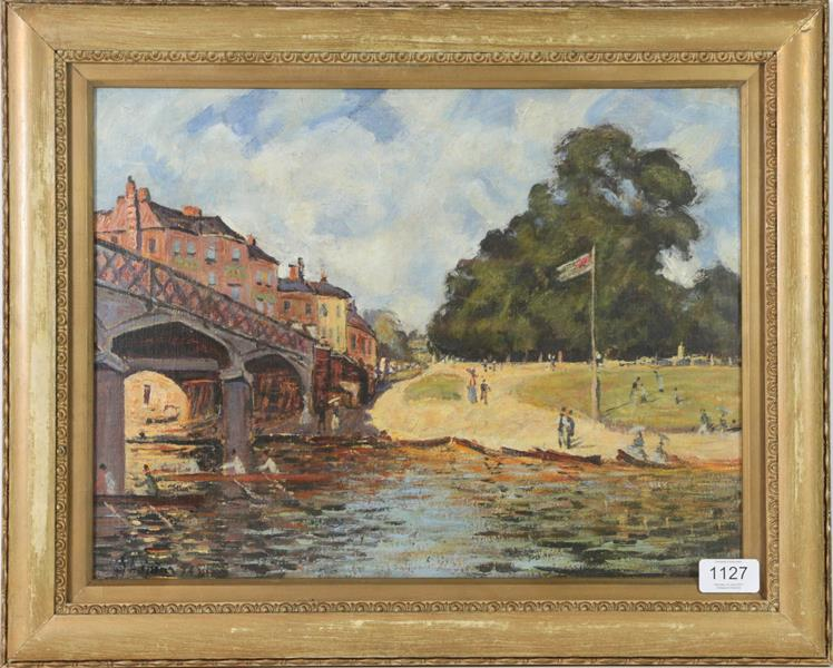 After Alfred Sisley, Hampton Court Bridge, Bears signiture S Lepine (18)74, oil on board, 31cm by