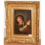 Oil on canvas of a Boy with Peep Show, after Fragonard, in heavy gilt frame