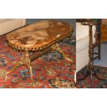 A green onyx coffee table, 100cm by 50cm by 45cm, together with a mahogany torchere (2)