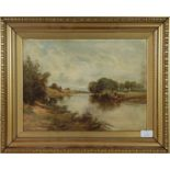 K M Walker (19th/20th century) Views over the River Wharf with sheep and cattle, pair of signed oils