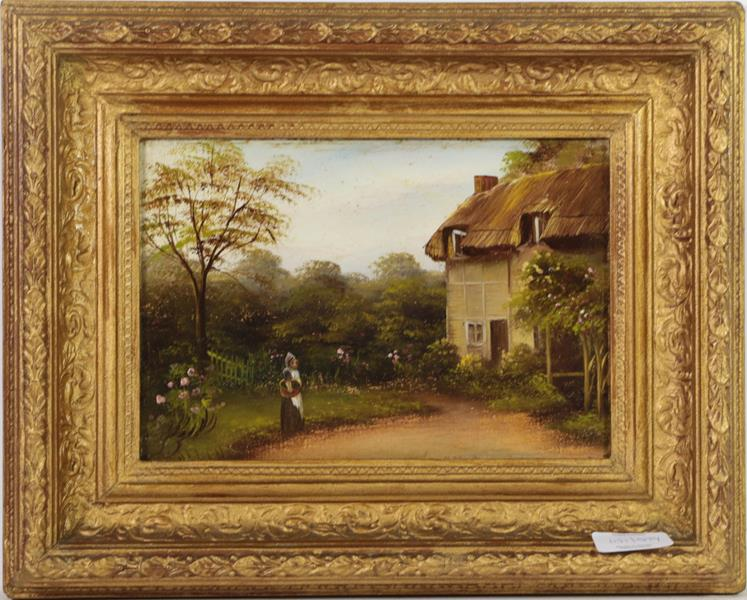 Seven small oils of a Tyrolean pipe smoker, cottage garden by Allen, two views by F Bock, man with - Image 4 of 8