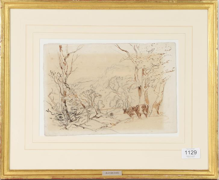 David Cox (1783-1839) Cattle amongst trees overlooking a valley, Mixed media with charcoal drawing