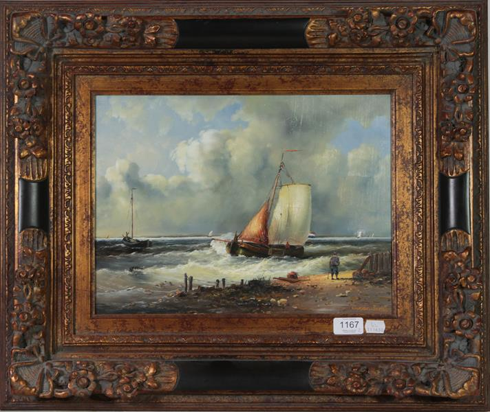Susan Jackson (Contemporary) Dutch boats off the coast and another by the same artist, oil on board, - Image 2 of 2