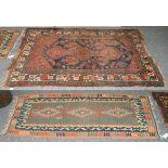 A Bidjar rug, the indigo field of tribal motifs around a madder panel framed by borders of angular