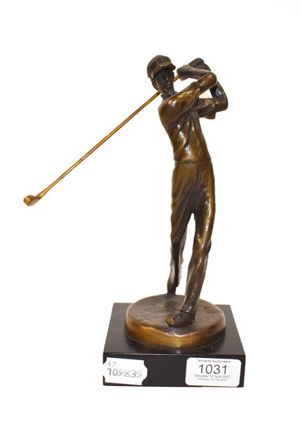 * Kim B (Contemporary) Golfer Signed, bronze on a composite base, 24cm high Artist's Resale Rights/