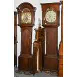 An elm eight day longcase clock, dial signed William Greaves, Newcastle, later case, together with