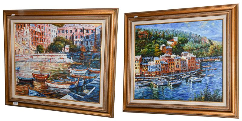 * O'Donnell (Contemporary) An Italian harbour scene Signed, oil on canvas, together with another