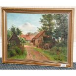 An oil canvas by Augustin Francois Lefebvre of buildings in the Foret de Compiegne