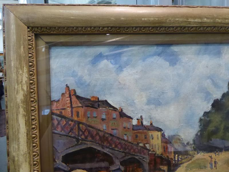 After Alfred Sisley, Hampton Court Bridge, Bears signiture S Lepine (18)74, oil on board, 31cm by - Image 5 of 9