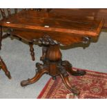 A Victorian rosewood fold-over pedestal tea table, 91cm by 44cm by 72cm