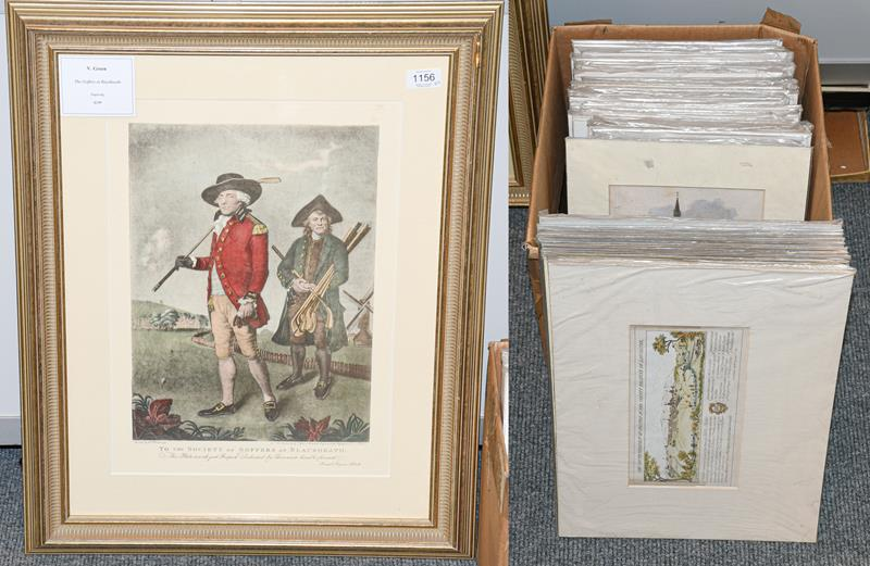 V Green ''The Golfers at Blackburn'' modern print in 19th century style, together with a large box