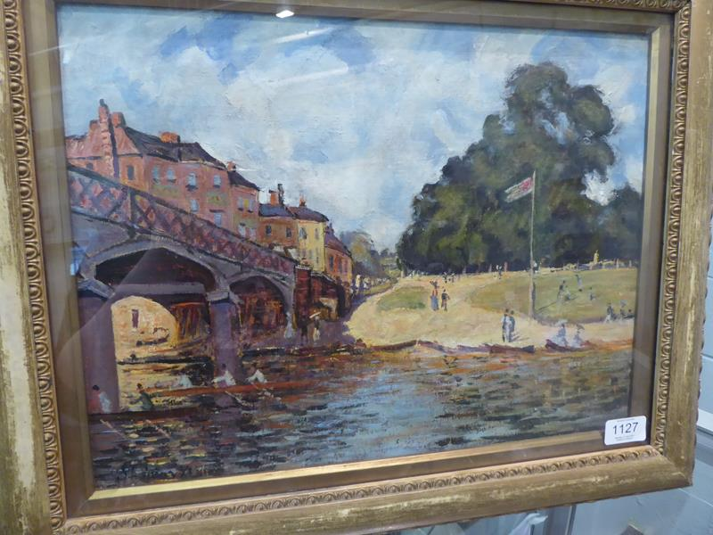 After Alfred Sisley, Hampton Court Bridge, Bears signiture S Lepine (18)74, oil on board, 31cm by - Image 4 of 9