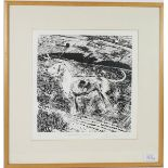 Piers Browne (b.1949) ''A Wensleydale Harrier'' Signed, inscribed and numbered 8/100, woodblock