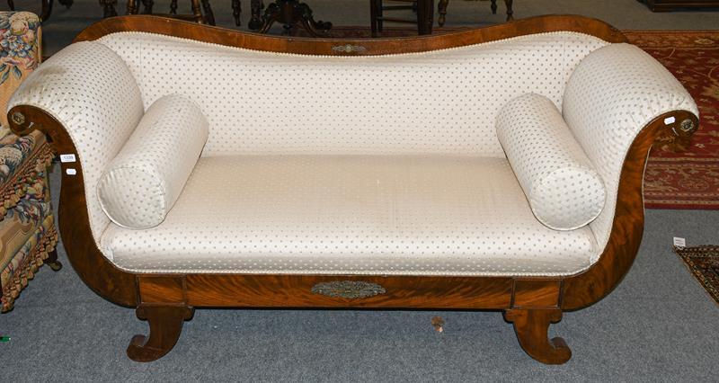 A 20th century mahogany framed scroll end sofa with gilt mounts, 183cm long