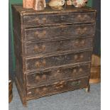A Victorian pine printers chest, 82cm by 54cm by 108cm