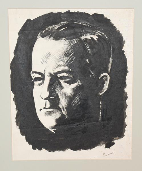 Jacob Kramer (1892-1962) Head study of George Hopkinson Signed, pen and ink, 42cm by 33cm (unframed)