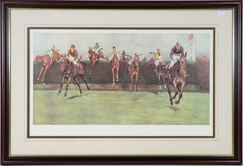 A large collection of colour racing prints, hunting prints and a landscape, various sizes (qty)