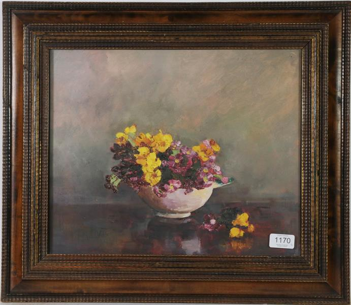 M E Oddie (20th century) Still life flowers in a bowl, together with a indistinctly signed still - Image 4 of 4